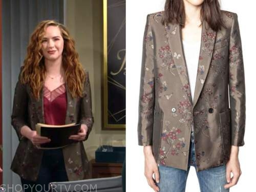 mariah copeland, camryn grimes, the young and the restless, olive green floral jacquard blazer