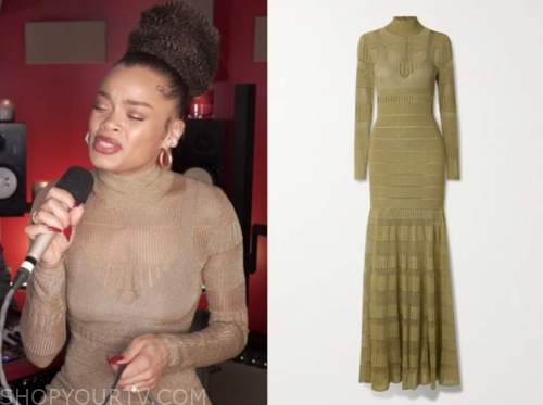 andra day, the view, gold metallic turtleneck knit dress