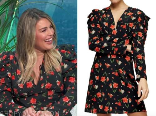 carissa culiner, E! news, daily pop, black and red floral puff sleeve dress