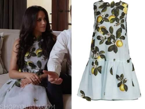 meghan markle, E! news, daily pop, blue lemon print dress