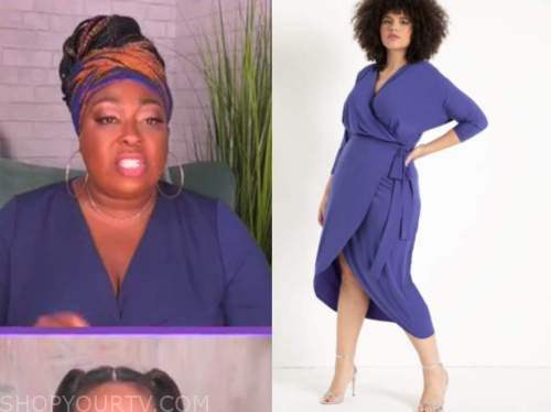 loni love, the real, purple blue wrap dress