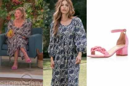 amanda kloots, the talk, floral midi dress, pink sandals