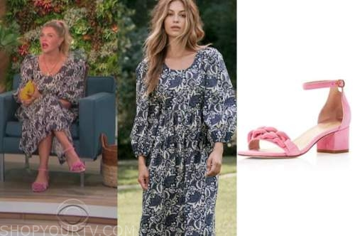 amanda kloots, the talk, floral midi dress, pink sandals