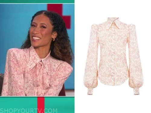 elaine welteroth, the talk, pink floral shirt