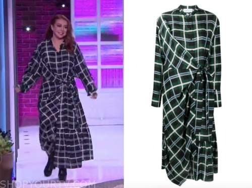 alyson hannigan, the kelly clarkson show, green plaid check shirt dress
