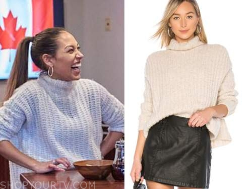 serena pitt, the bachelor, beige turtleneck fluffy sweater