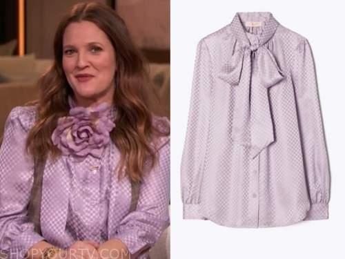drew barrymore, drew barrymore show, purple satin bow tie neck blouse