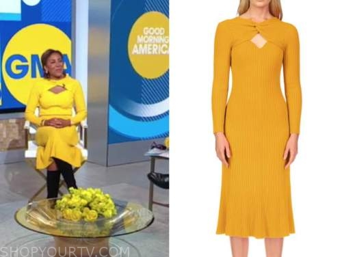robin roberts, good morning america, yellow twist cutout knit dress