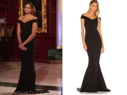 michelle young, the bachelor, black off-the-shoulder gown