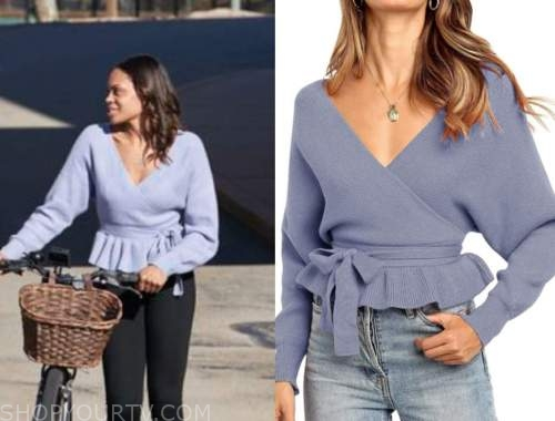 michelle young, purple blue wrap sweater, the bachelor, hometown dates
