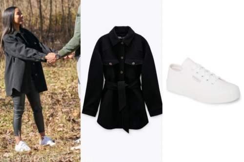 bri springs, black jacket, white sneakers, the bachelor
