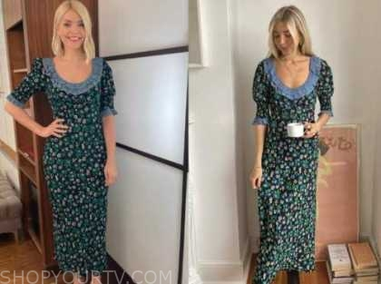 holly willoughby, this morning, green and blue floral gingham dress