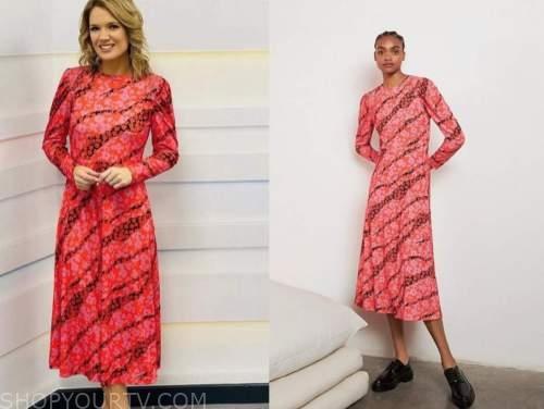 charlotte hawkins, good morning britain, pink floral midi dress