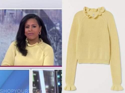 sheinelle jones, the today show, yellow ruffle sweater