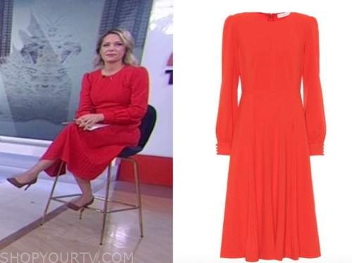 the today show, dylan dreyer, red midi dress