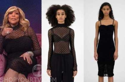 wendy williams, the wendy williams show, black mesh turtleneck and dress