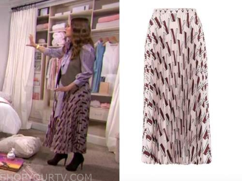 drew barrymore, drew barrymore show, pink printed pleated midi skirt