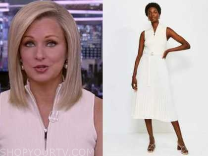 america reports, sandra smith, white knit pleated zip-front dress