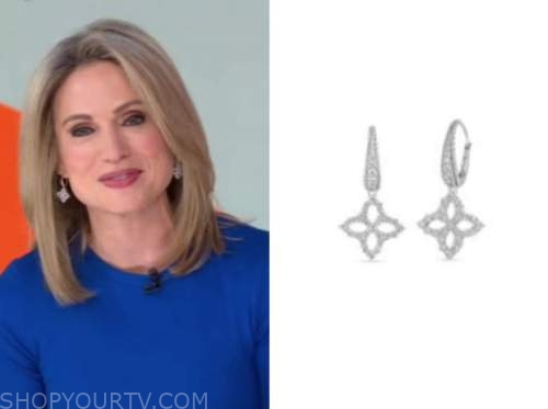 amy robach, good morning america, diamond flower earrings