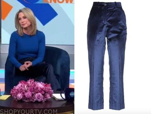 good morning america, amy robach, blue velvet pants