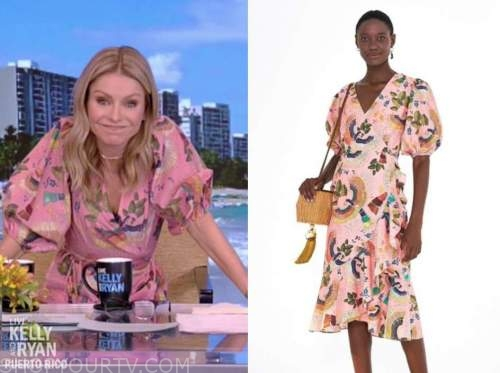 kelly ripa, live with kelly and ryan, pink printed wrap ruffle midi dress