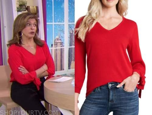 hoda kotb, the today show, red tie sleeve top
