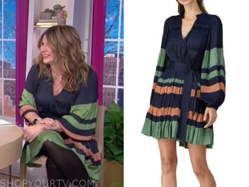 jenna bush hager, the today show, navy blue striped dress