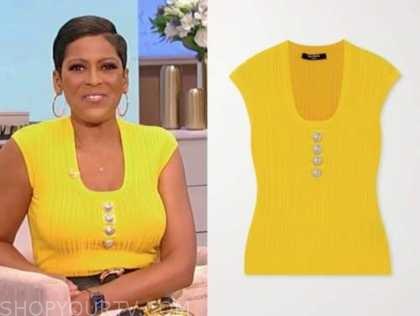 tamron hall show, tamron hall, yellow knit top