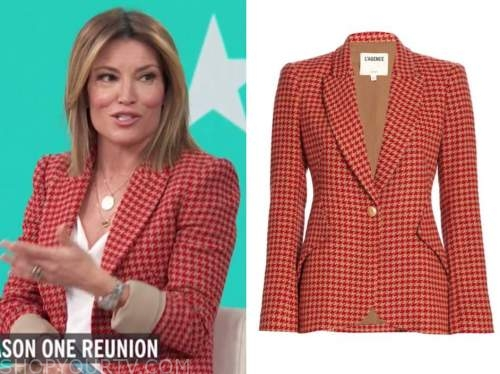 access daily, kit hoover, access hollywood, red houndstooth blazer