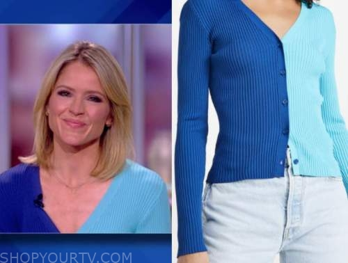 sara haines, the view, blue colorblock cardigan sweater