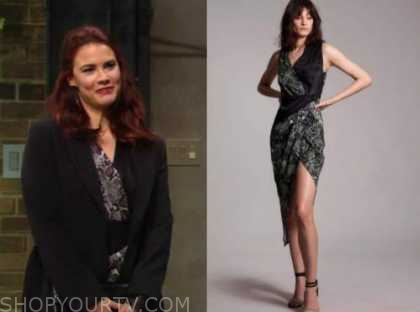 sally spectra, courtney hope, the young and the restless, snakeskin colorblock dress