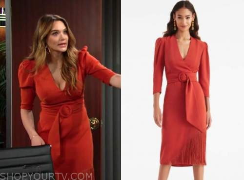 summer newman, hunter king, the young and the restless, rust red belted puff sleeve fringe dress