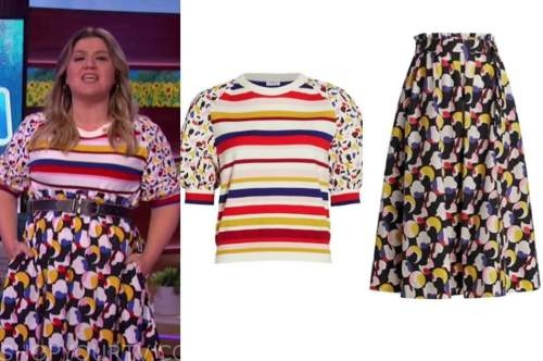 kelly clarkson, the kelly clarkson show, striped dot top and dot skirt