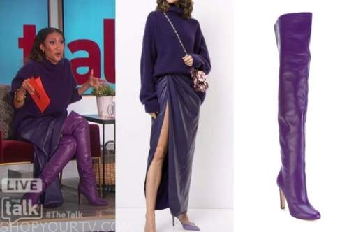 elaine welteroth, the talk, purple turtleneck, purple leather skirt, purple boots