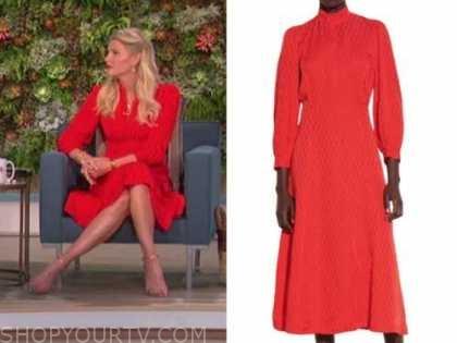amanda kloots, the talk, red jacquard dress