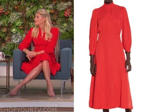 amanda kloots, the talk, red jacquard dress