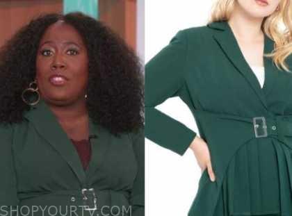 sheryl underwood, the talk, green belted blazer