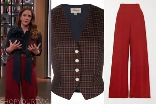 drew barrymore, drew barrymore show, plaid vest, red pants