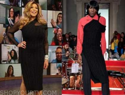 wendy williams, the wendy williams show, black asymmetric cable knit sweater dress