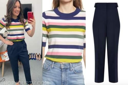laura tobin, good morning britain, striped top, navy blue pants