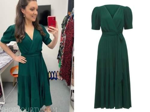 laura tobin, green wrap dress, good morning britain