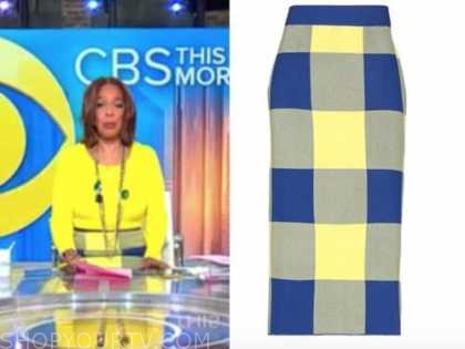 gayle king, cbs this morning, yellow and blue check pencil skirt
