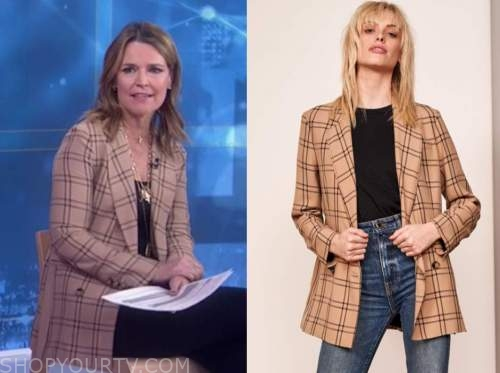 the today show, savannah guthrie, camel grid double breasted blazer