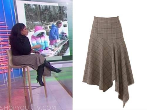 sheinelle jones, the today show, brown grid skirt