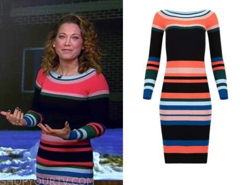 ginger zee, coral and blue striped knit dress, good morning america