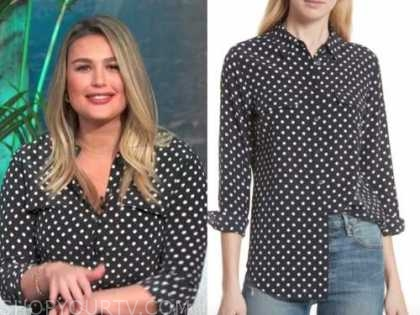 carissa culiner, E! news, daily pop, black and white polka dot blouse