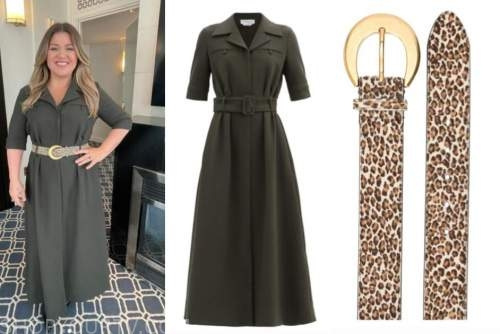 kelly clarkson, the kelly clarkson show, olive green shirt dress, leopard belt