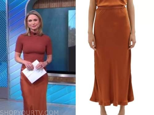 good morning america, orange satin midi skirt, amy robach