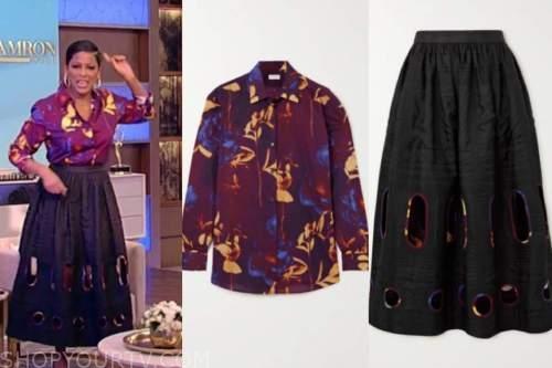tamron hall, tamron hall show, burgundy floral top, black cutout skirt