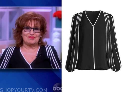 joy behar, the view, black and white contrast trim blouse